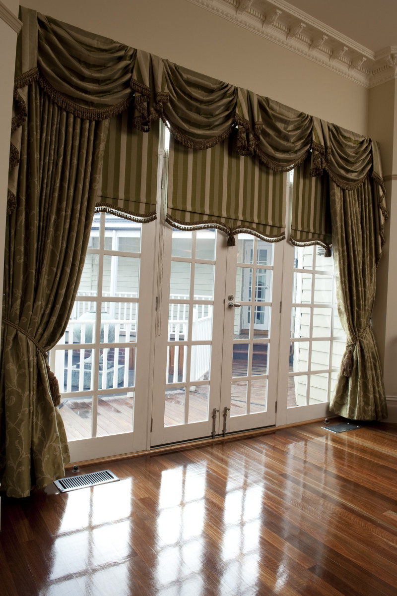 Drapes Tied Back With Matching Swag & Tails & Bonded Roller Blinds