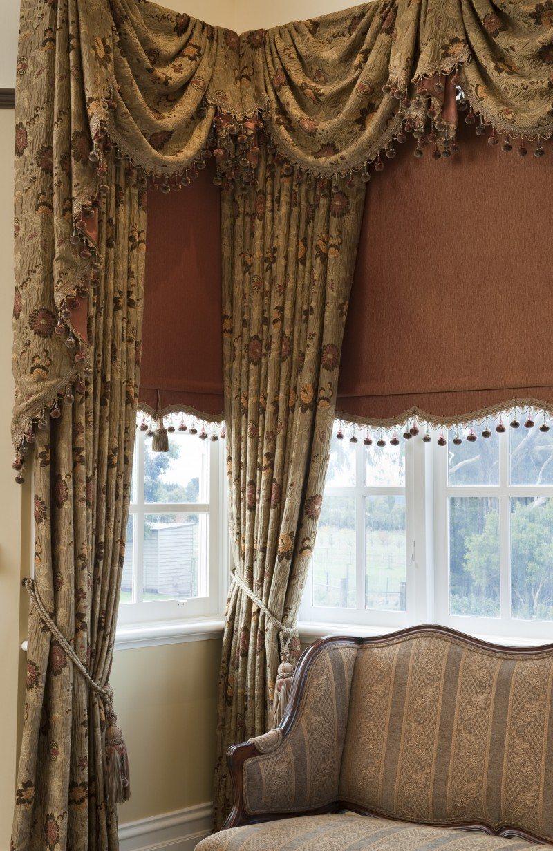 Drapes with Swag & Tails and a Bonded Roller Blind
