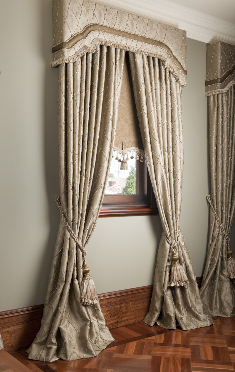Drapes With Matching Pelmets and Bonded Roller Blinds