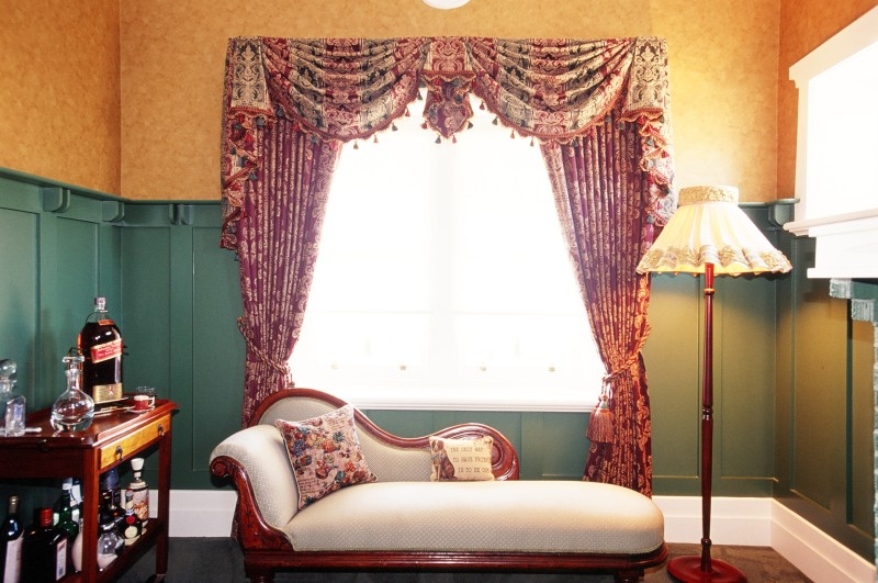 Upholstered Chair With Matching Drapes and Swag and Tail