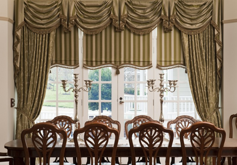 Previous Job - Drapes with matching Swag and Tails and Bonded Roller Blinds