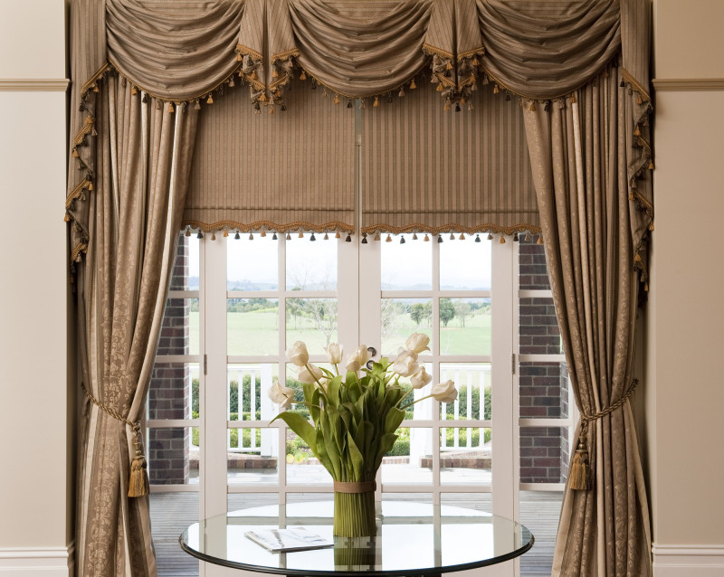 Previous Job  - Drapes with Matching Swag and Tail and Bonded Roller Blinds