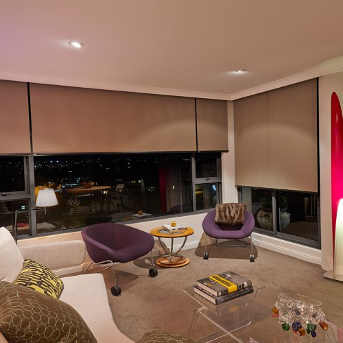 Luxaflex Roller Blinds at Night