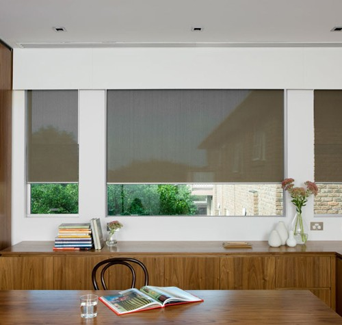 Sheer Roller Blinds with a Timber Painted Pelmet
