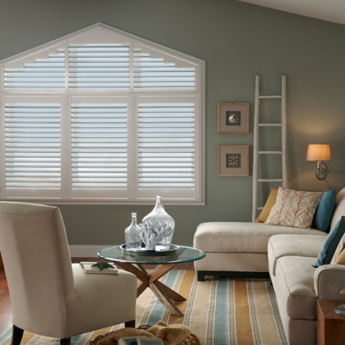 Plantation Shutters for a Shaped Window
